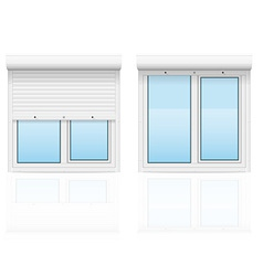 plastic window with rolling shutters 03 vector image vector image