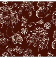 Africa sketch dark seamless pattern vector image vector image