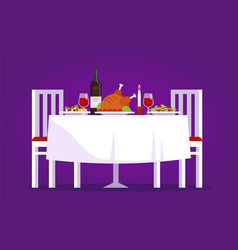table with tasty dishes and two chairs flat vector image