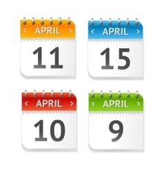 Calendar April with Dates Set Flat Design vector image vector image