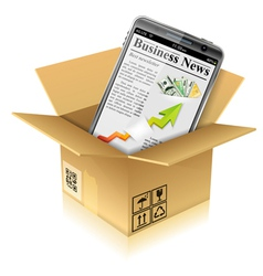 Cardboard Box with Smart Phone vector image vector image