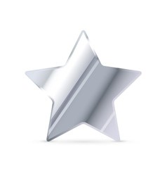 Glossy silver rating star with shadow on white vector image