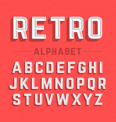 retro style 3d alphabet vector image vector image