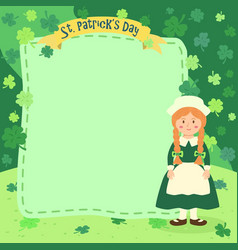 st patrick day braid girl notes vector image vector image