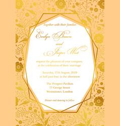Wedding invitation poppy floral invite card vector