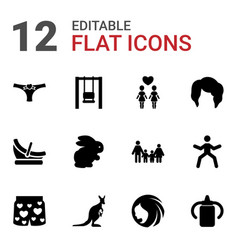 12 young icons vector