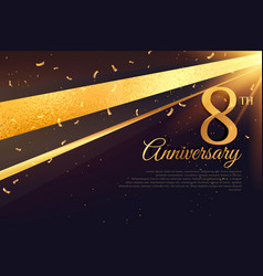 8th anniversary celebration card template vector image