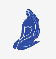 Abstract woman sitting long hair blue vector