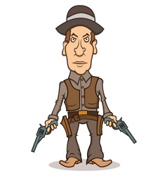Angry cartoon cowboy with two guns vector image