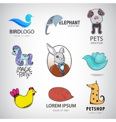 Animal logo collection Bird rabbit cat fox vector image