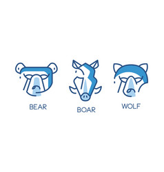 animal logo design set abstract badges with bear vector image