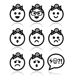Baby girl faces avatar icons set vector