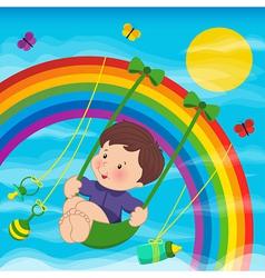 baby on the rainbow vector image