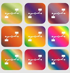 Bezier curve icon sign nine buttons with bright vector
