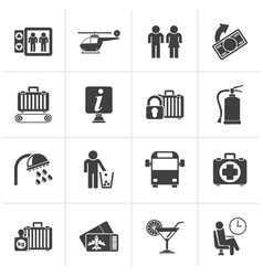 Black Airport travel and transportation icons vector