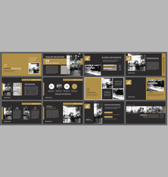 Black gold presentation templates and infographics vector