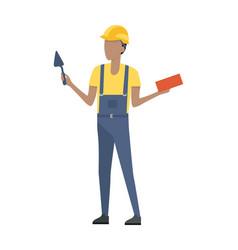 builder in helmet and blue uniform brick trowel vector image