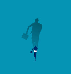 Businessman running with his big shadow concept vector