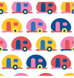 Camper van seamless pattern retro caravans vector