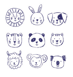 Childish set of with cute animals vector