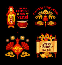 chinese lunar new year badge of asian holidays vector image