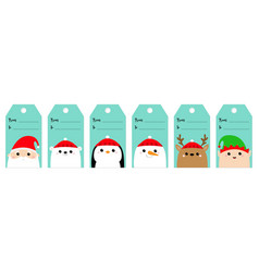 christmas gift tag set santa claus elf white vector image