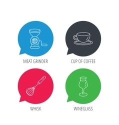Coffee cup whisk and wineglass icons vector