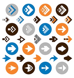 collection arrow icons vector image