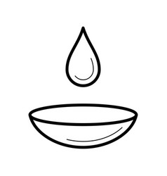 Contact lens with a moist drop icon vector
