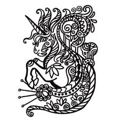 Contour doodle unicorn vector