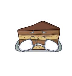 Crying tiramisu mascot cartoon style vector