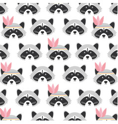 cute raccoons with feathers hats woodland pattern vector image