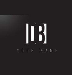 db letter logo with black and white negative vector image