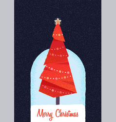 Decorated christmas tree in the night vector