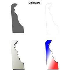 Delaware outline map set vector image