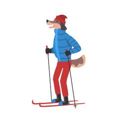Dog skiing animal athlete character doing sports vector