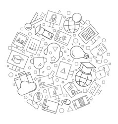 e-learning circle background from line icon vector image