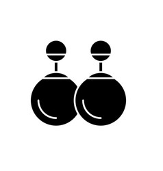 earrings black icon sign on isolated vector image