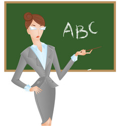 female teacher at blackboard with pointer shows vector image