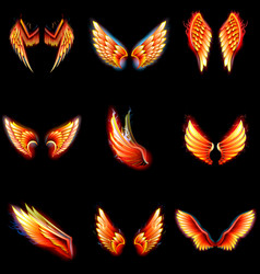 Fire wings phoenix winged angel burning vector