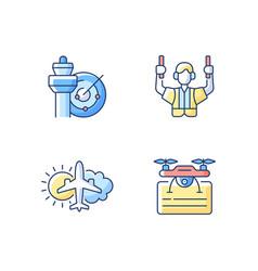 Flight dispatch rgb color icons set vector