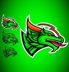 Green dragon emblem logo vector