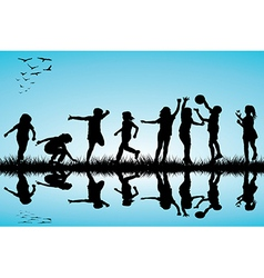 Group of children silhouettes playing outdoors vector