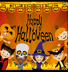 halloween party and a group of children vector image