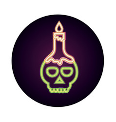 happy halloween skull with burning candle trick vector image