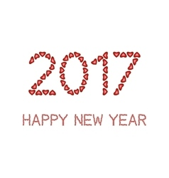 Happy New Year 2017 made from hearts vector image