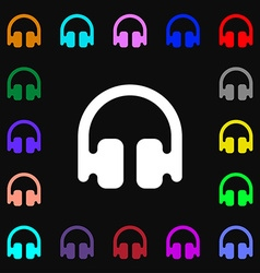 Headphones Earphones icon sign Lots of colorful vector image