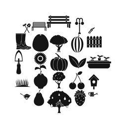 herb icons set simple style vector image