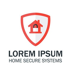 Home Security with Red Shield and Padlock vector image