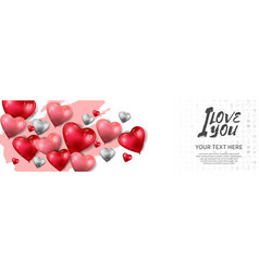 I love you design with heart balloon and pink vector